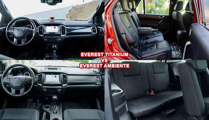 Nội thất xe Ford Everest Titanium vs Ambiente