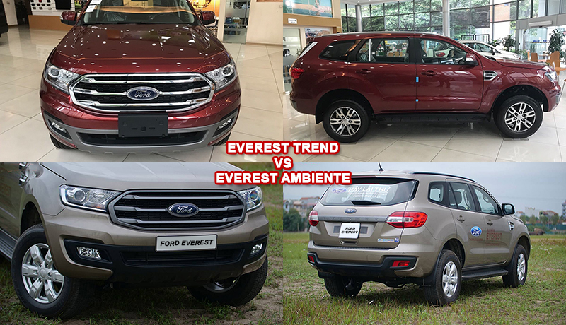 Ngoại thất xe Ford Everest Trend vs Ambiente