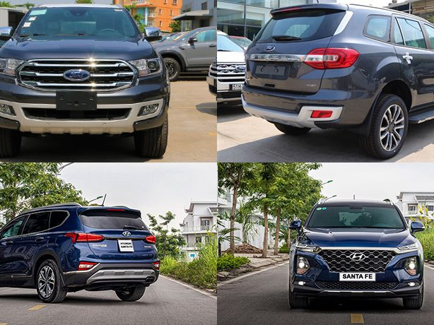 So sánh xe Ford Everest vs Hyundai Santa Fe