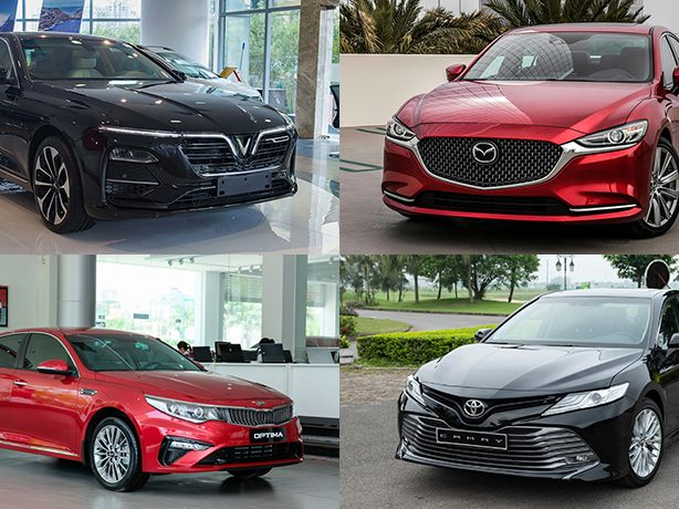 So sánh xe VinFast Lux A2.0 vs Mazda 6 vs Toyota Camry vs KIA Optima